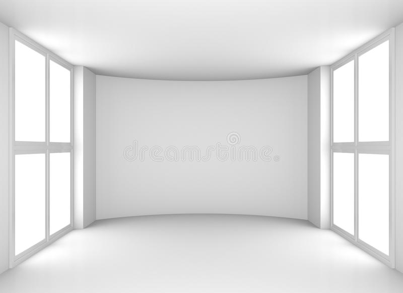 Empty clean white room with windows stock image