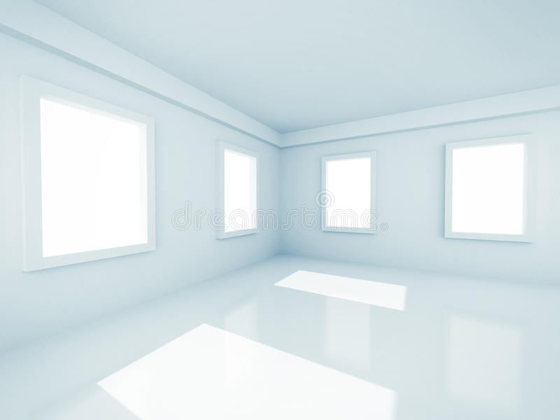Empty Modern Room With Windows stock images