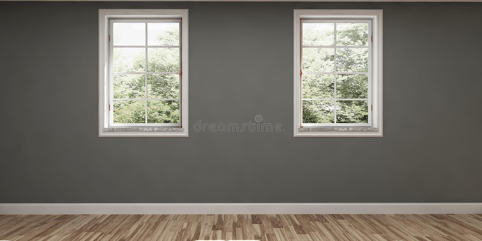 Empty room with grey walls and two windows. Empty room with grey walls and two windows and wooden floor royalty free stock image