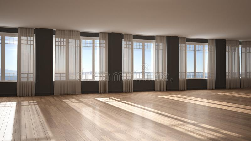 Empty room interior design, background with copy space, open space with big panoramic windows with curtains and sea view, parquet royalty free stock images