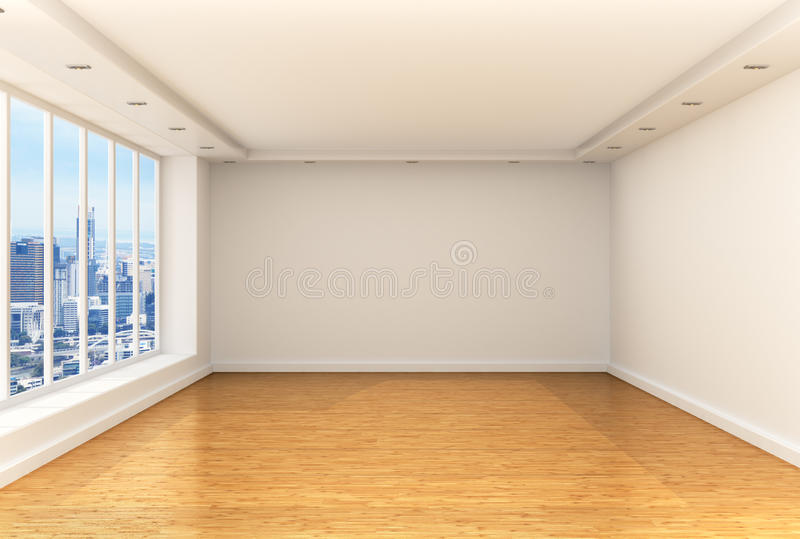 Empty room, panoramic windows stock image