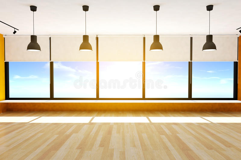 Empty room and parquet floor with large windows and ceiling lamps, 3D rendering royalty free stock photography