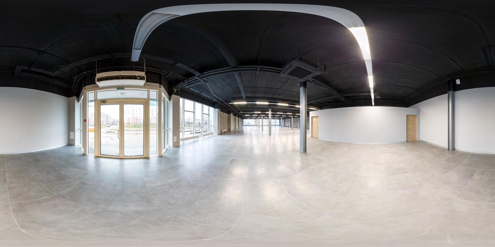 Empty room without repair. full seamless spherical hdri panorama 360 degrees in interior white loft room for office with panoramic. Windows in equirectangular stock image