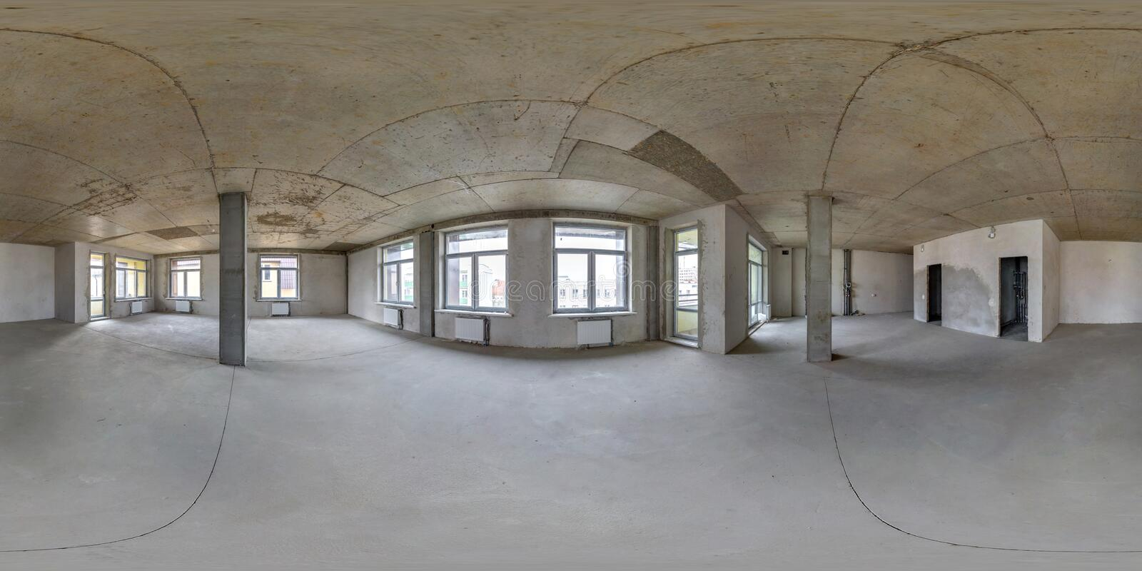 Empty room without repair. full seamless spherical hdri panorama 360 degrees in interior of white loft room office with panoramic royalty free stock photos