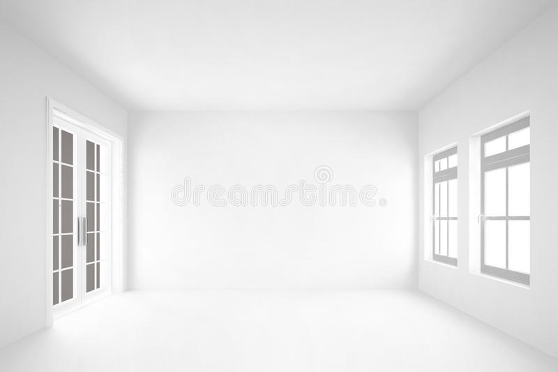 empty white room with door&windows interior background stock photo