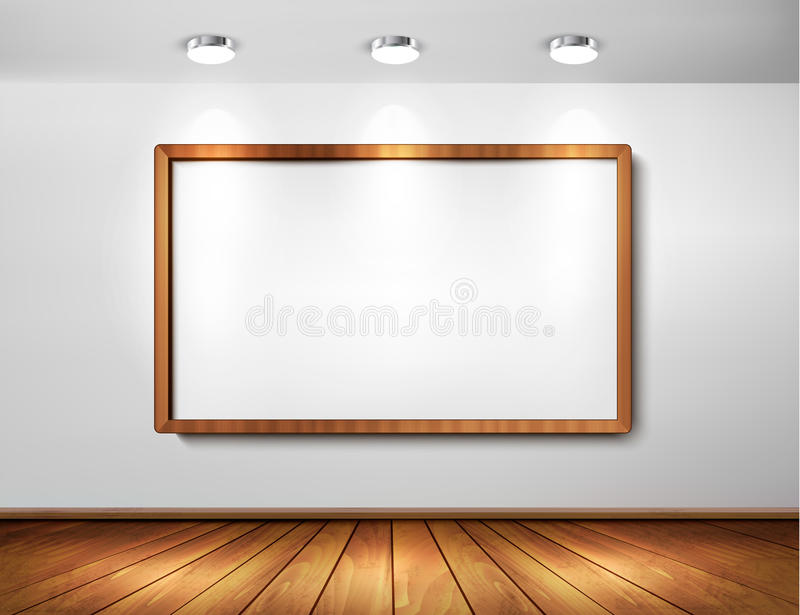 Empty wooden frame on a wall with spotlights vector illustration