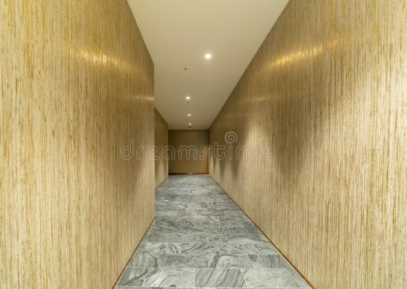 Empty wooden room corridor, walls and stone marble flooring, interior design decoration background stock images