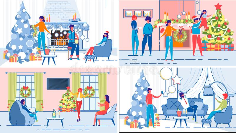 Family, Relatives or Friends Christmas Fun Set. vector illustration
