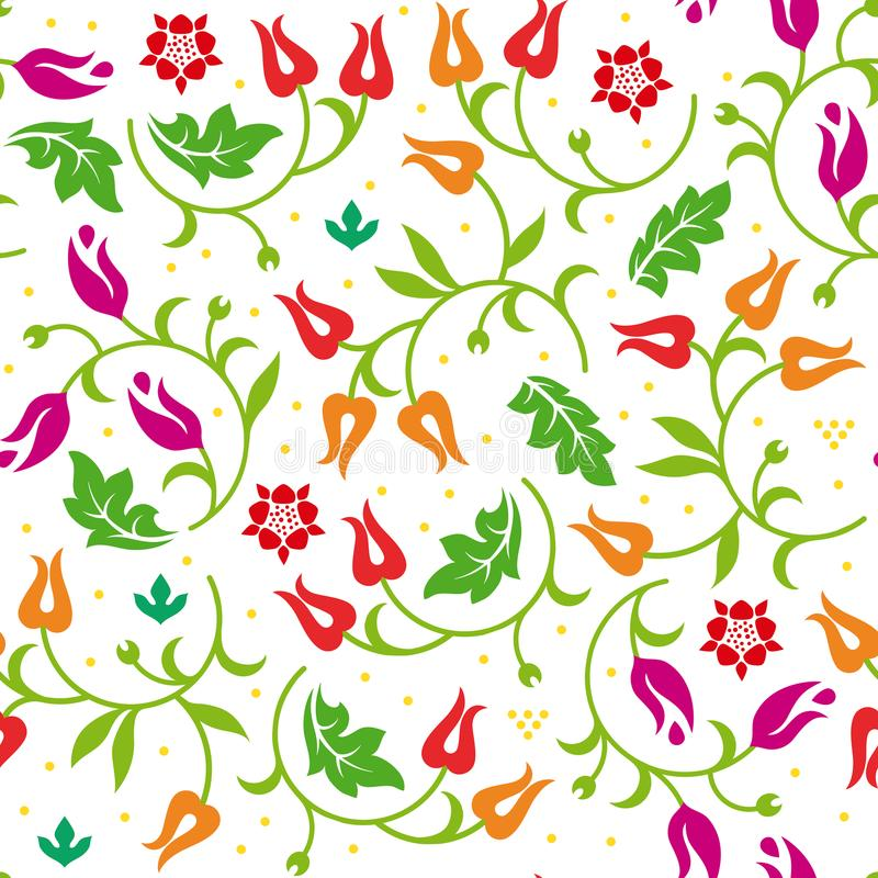 Floral seamless pattern with warm color scheme. Vector illustration. stock illustration