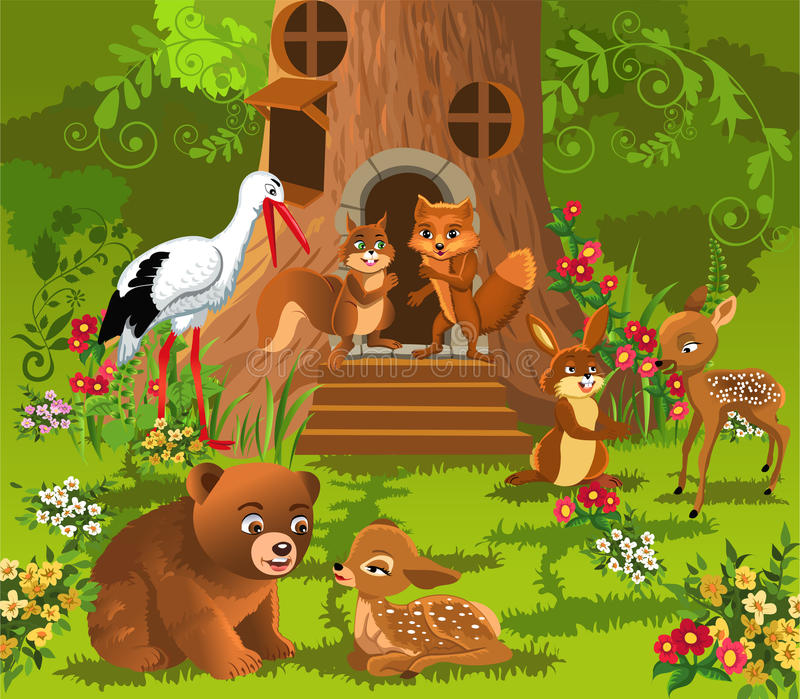 Forest animals living in the tree house royalty free illustration