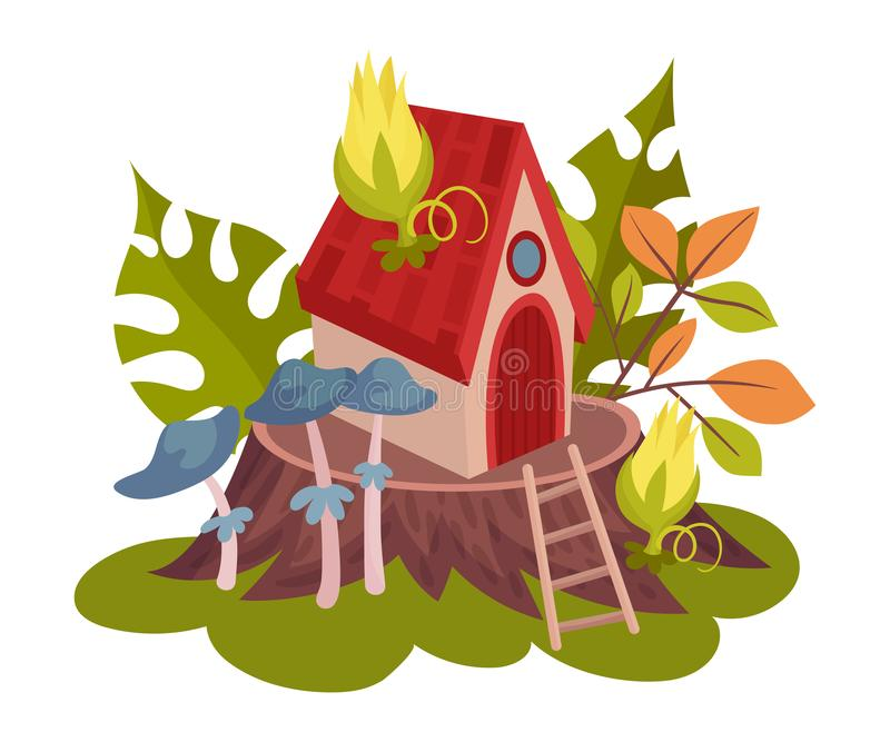 Forest house for fairies. Vector illustration on a white background. vector illustration