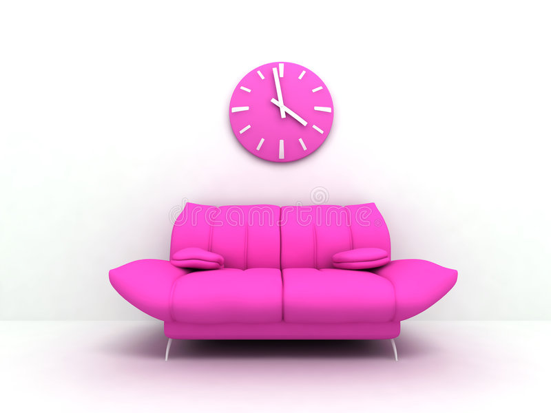Glamour sofa. Purple sofa and clock in modern interior of a light living room stock photography