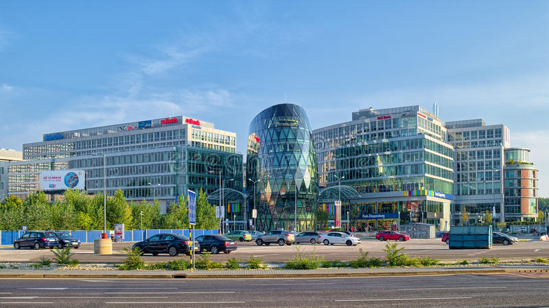 Glass buildings of Eurovea Mall in Bratislava, Slovakia royalty free stock photography