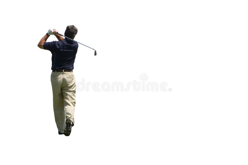 Golfer Iron shot isolated stock photography