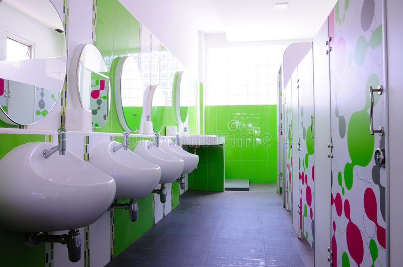 Green and clean child toilet. Green and clean child restroom in school, good health management and sanitation stock image