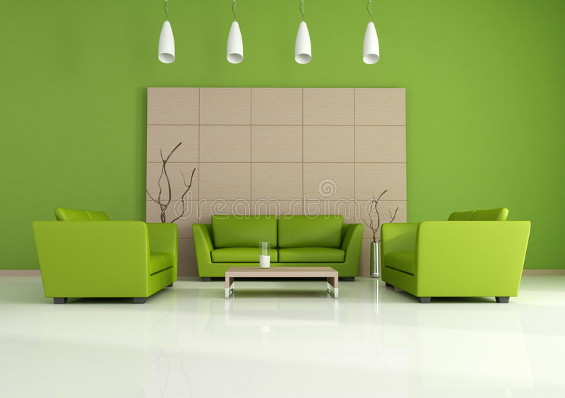 Green modern interior royalty free illustration