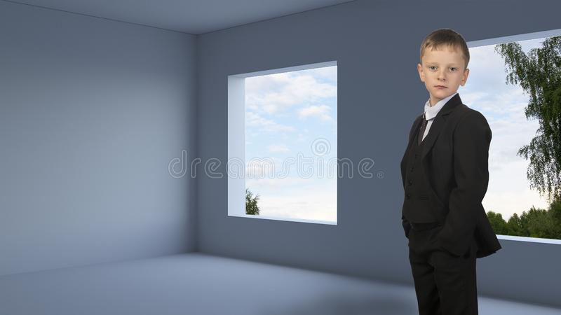Guy is in an unfinished apartment without windows. Young man in a suit is standing in a room. The room needs to be repaired at its own expense royalty free stock photography