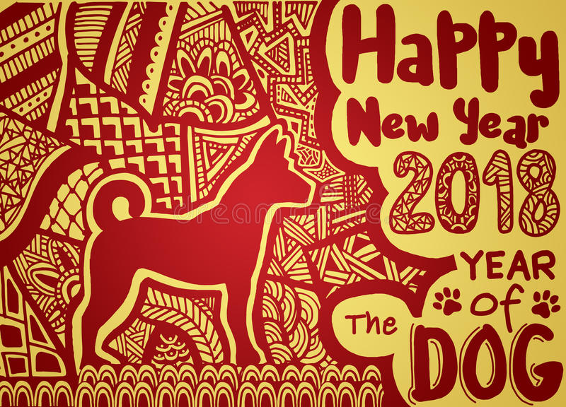 Happy Chinese new year card is Chinese Lantern and dog zodiac , royalty free illustration