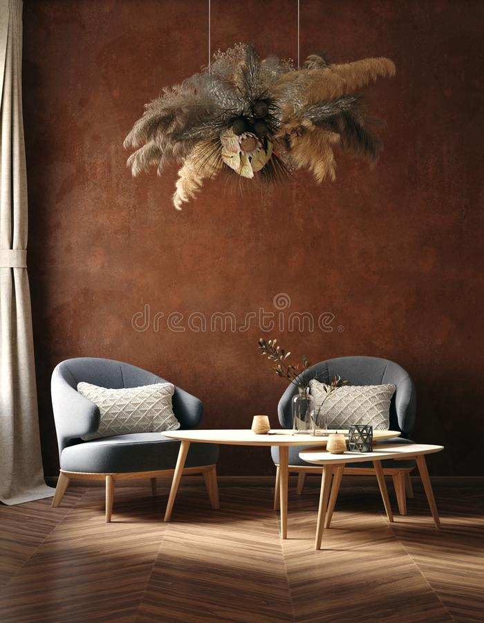 Home interior trend, dark room with chairs, coffee table and dry grass bouquet hanging above. Living room with old grunge brown wall, 3d render vector illustration