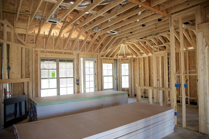Home Under Construction Ready for Dry-Wall Installation. Interior of a Suburban Home being prepped for dry wall installation royalty free stock photography
