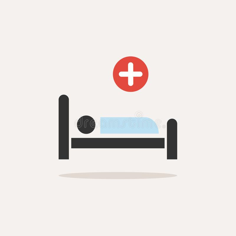 Hospital bed. Medicine flat color icon with shadow on a beige background stock illustration