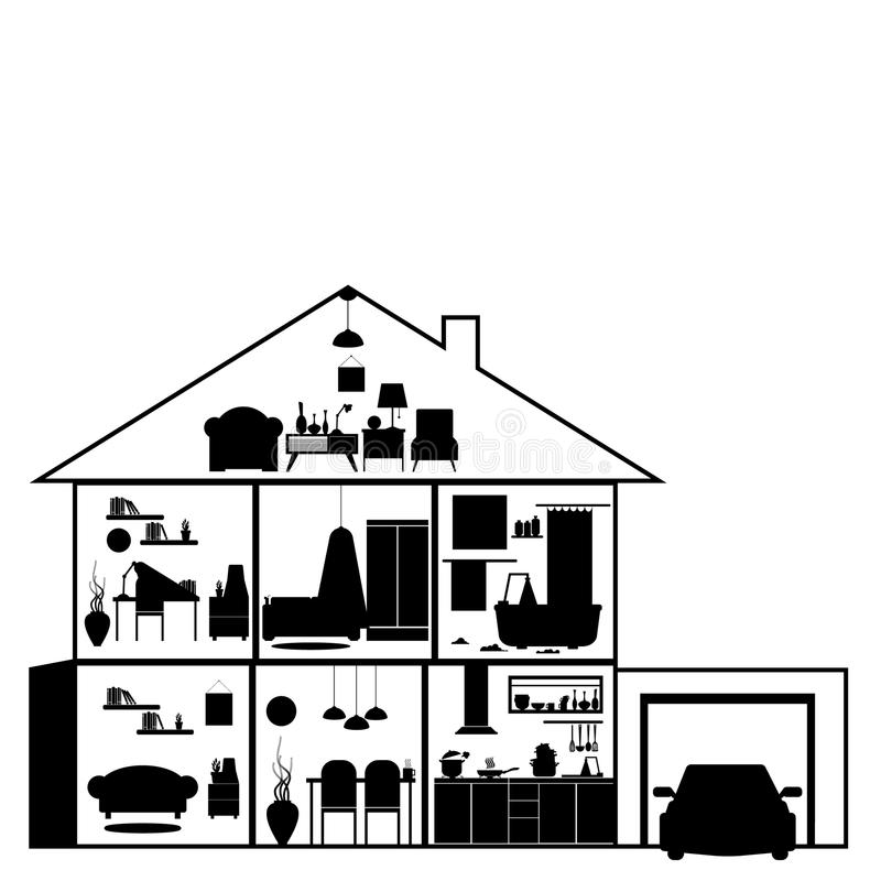 House in cut. Detailed modern house interior. Rooms with furniture. Flat style vector illustration. vector illustration
