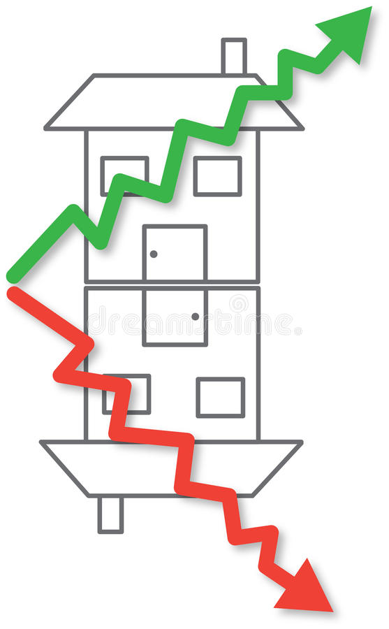 House prices rising and falling vector royalty free illustration