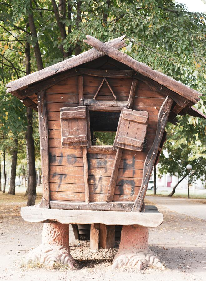 A hut on chicken legs. A house from old Russian fairy tales.  stock image