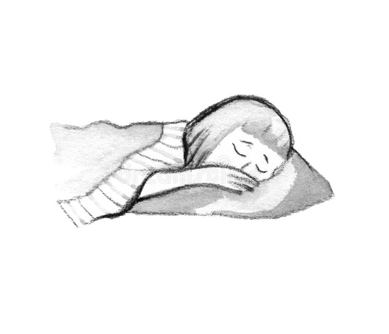 Illustration of isolated cute girl sleeping in bed on white royalty free illustration