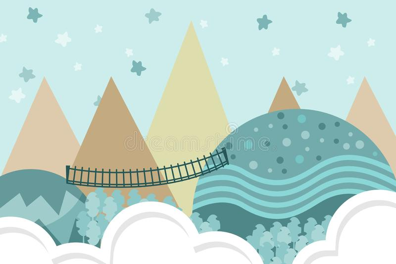 Kids room wallpaper with graphic illustration stairs in forest, hill, and air balloon. Can use for print on the wall, pillows, royalty free illustration