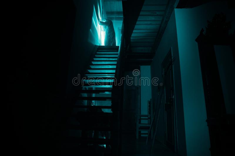 Inside of old creepy abandoned mansion. Silhouette of horror ghost standing on castle stairs to the basement. Spooky dungeon stone. Stairs in old castle with stock photos