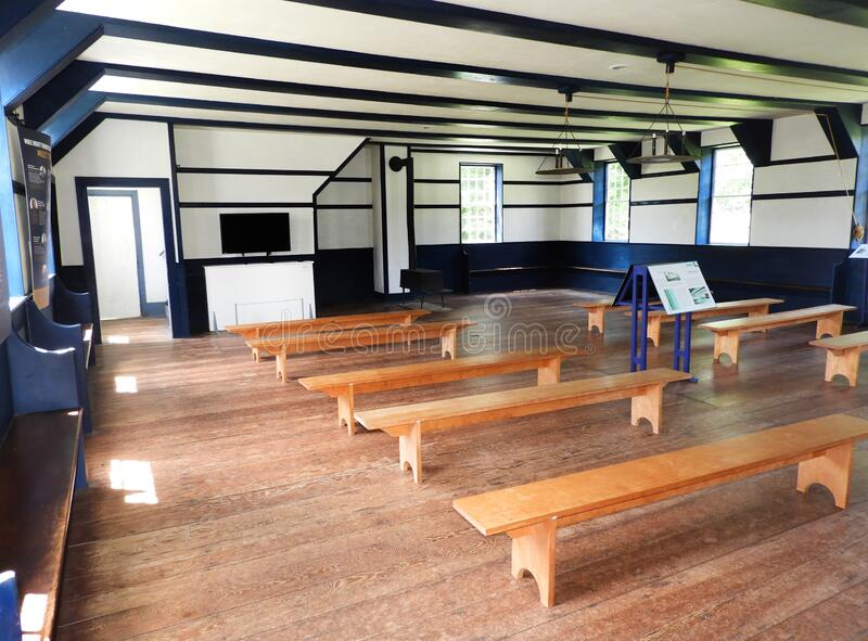 Interior room of Hancock Shaker Meetinghouse. More than three hundred members of Hancock's six communal families met here on Sundays in good weather at the stock photography