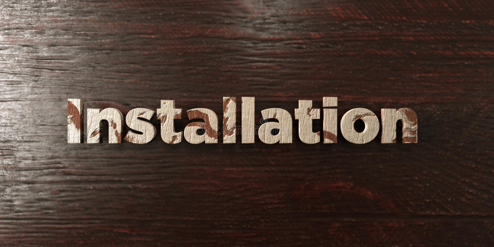 Installation - grungy wooden headline on Maple - 3D rendered royalty free stock image royalty free illustration