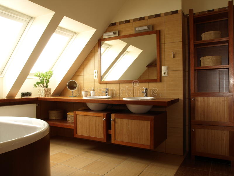 Interior of bathroom. Interior of luxury bathroom with brown tiles stock image