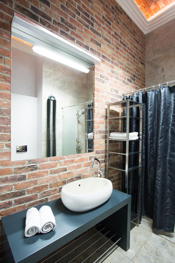 Interior of bathroom in a loft. Vertical stock photos