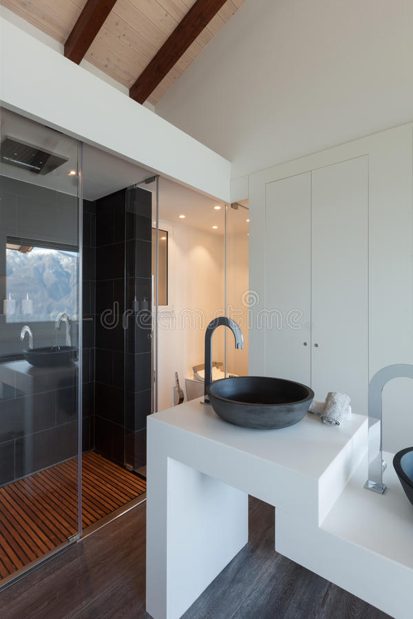 Interior, bathroom modern design. Interior of a loft, bathroom modern design, sink and shower roya