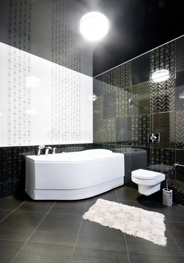 Interior of black and white bathroom stock images
