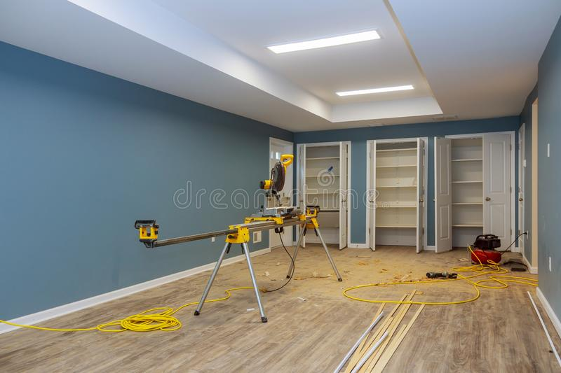 Interior construction of housing project with drywall installed door for a new home before installing. Interior construction of housing with drywall installed royalty free stock image