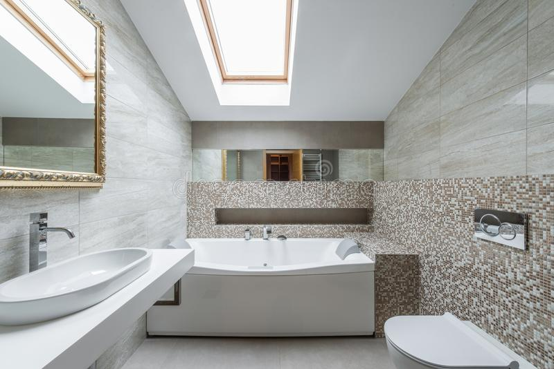 Interior of a luxury bathroom in loft apartment. Interior of a new luxury bathroom in loft apartment royalty free stock image
