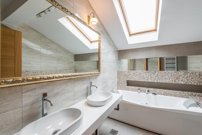 Interior of a luxury bathroom in loft apartment. Interior of a new luxury bathroom in loft apartment royalty free stock images