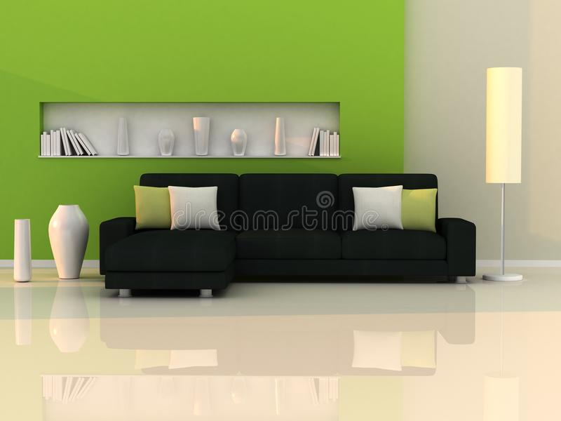 Interior of the modern room,green wall,black sofa stock illustration