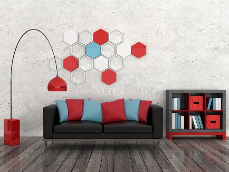 Interior of the modern room, white wall, black sof royalty free illustration