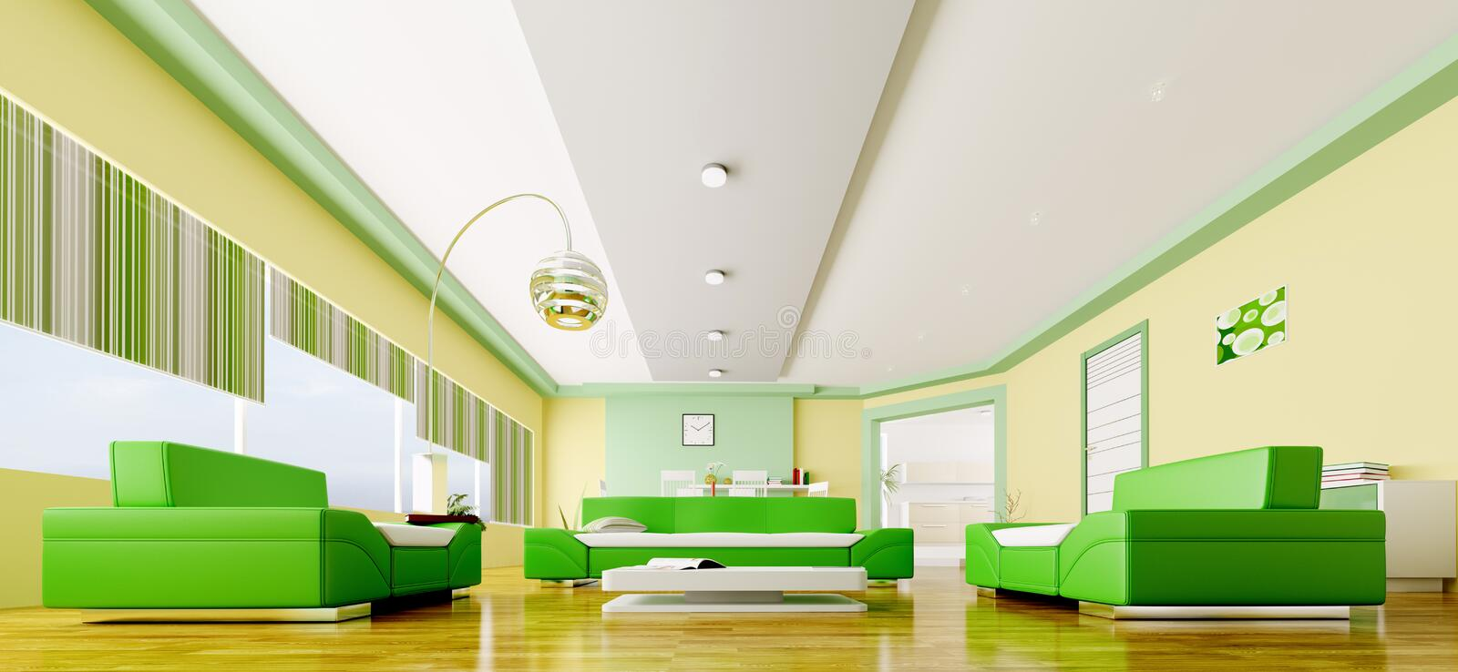 Interior of modern living room panorama 3d royalty free illustration