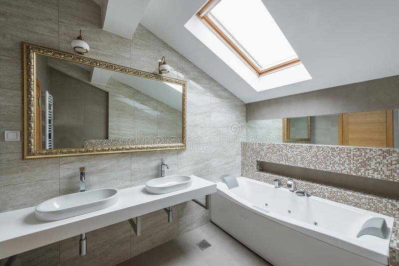 Interior of a luxury bathroom in loft apartment. Interior of a new luxury bathroom in loft apartment stock photography