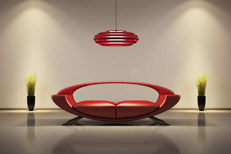 Interior with red sofa 3d stock illustration