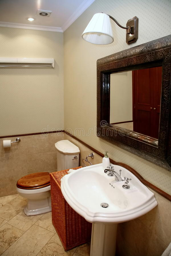 The interior of a rest room with toilet, sink and mirror in the gray-beige. The interior of a rest room in a grey-beige tones. The toilet tank, white sink, a stock photo
