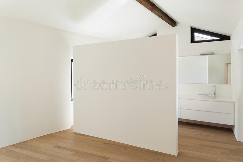 Interior, room with white bathroom. Beautiful modern loft, room with white bathroom royalty free stock photography