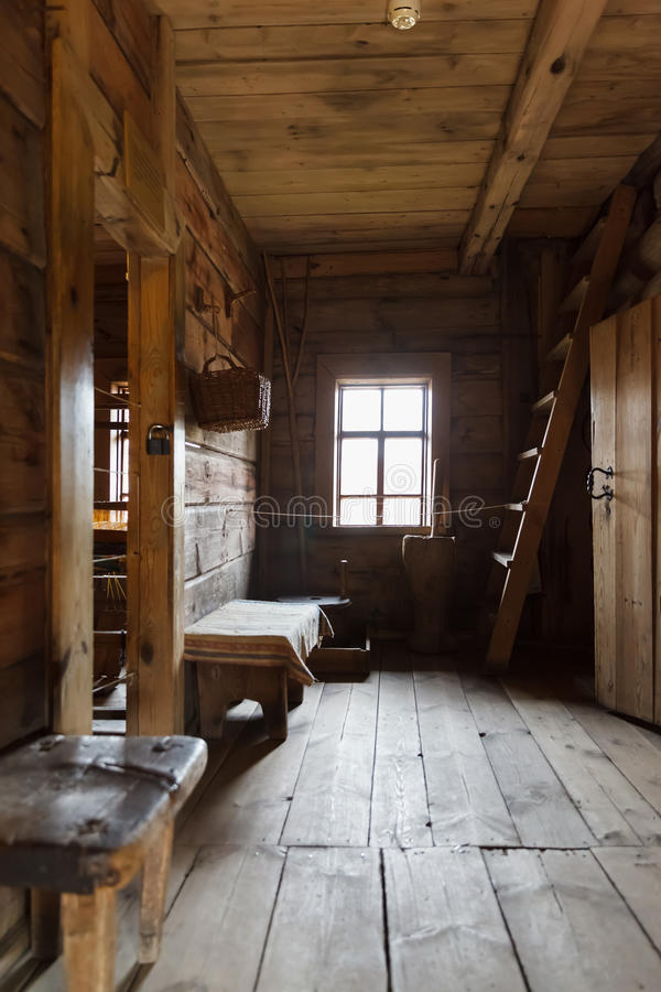 Interior of the Russian hut. Made of logs stock images