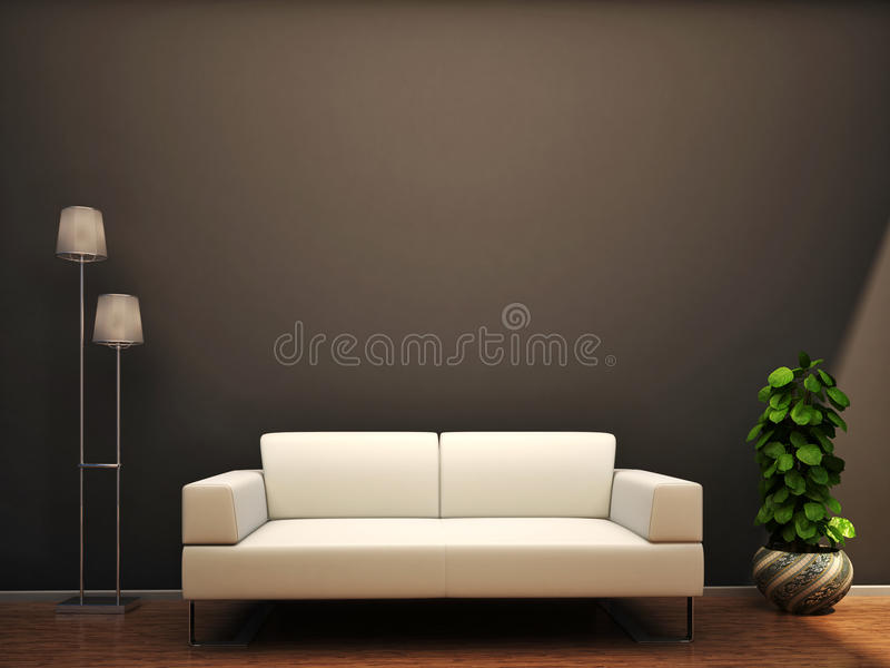 Interior scene sofa lamp flower wall royalty free illustration
