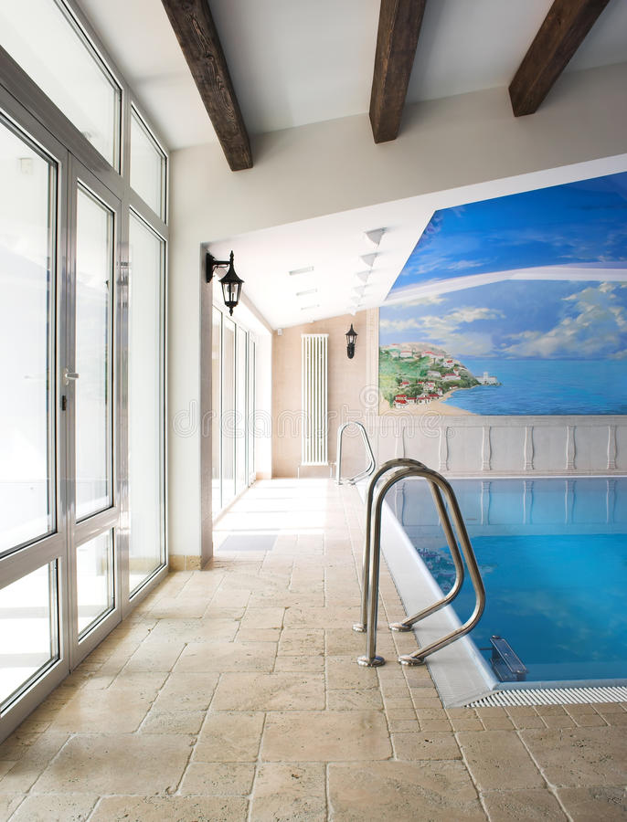 Interior of a swimming pool stock photography